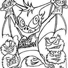 صفحة تلوين خفّاش هالويين على شكل وحش