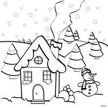 صفحة تلوين منزل في عيد الميلاد
