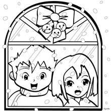 صفحة تلوين نوافذ عيد الميلاد