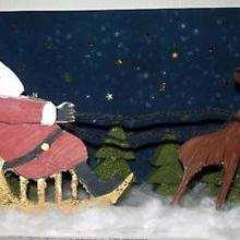 رسم جميل  لبابا نويل وعربة الميلاد