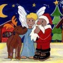 رسم ملاك وبابا نويل ورنّة الميلاد