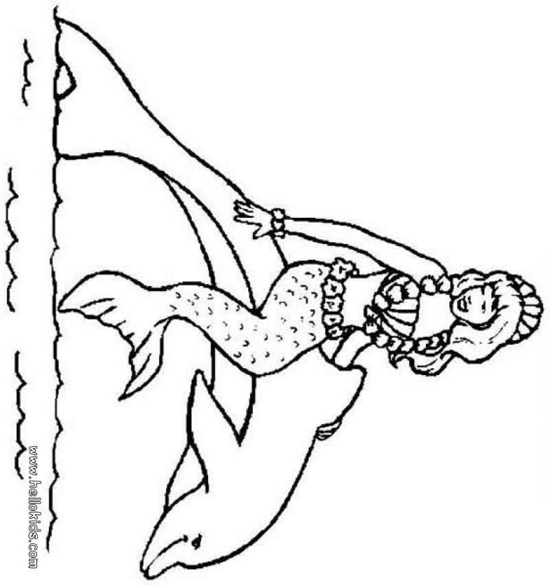 صفحات تلوين حوريّة وحيوانات البحر  صفحة تلوين دلفين