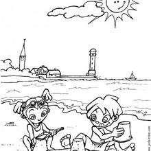 صفحة تلوين أطفال يلعبون على الشّاطئ