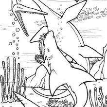 صفحة تلوين ديناصور وقرش ما قبل التاريخ
