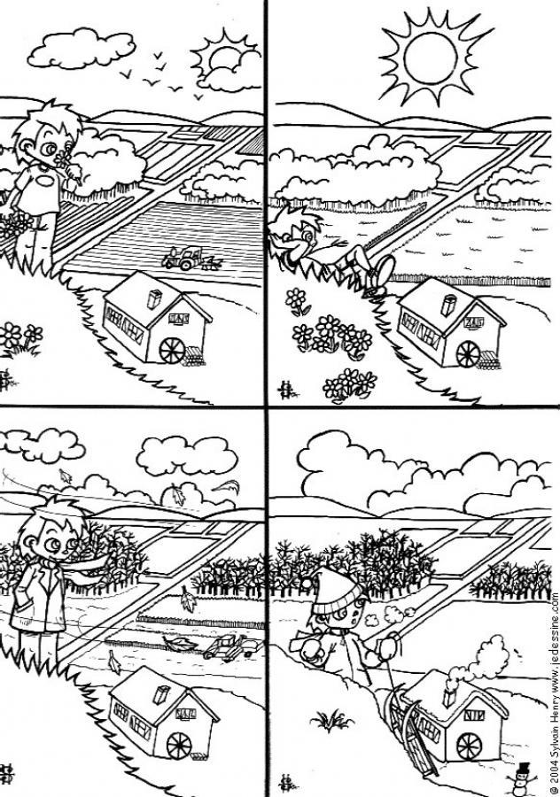 صفحة تلوين الفصول الأربعة