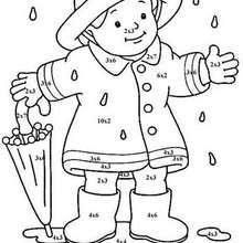 تلوين بالأرقام فتى صغير مع مظلّة