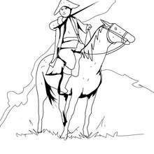 صفحة تلوين  جندي أمريكي وحصان