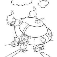 صفحة تلوين جون والمركبة الفضائيّة - صغار أينشتاين