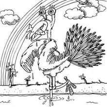 صفحة تلوين طيور كبيرة على شكل وحوش