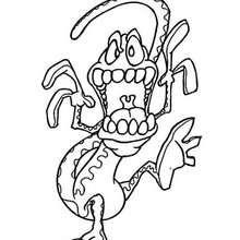 صفحة تلوين ثعبان على شكل وحش