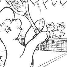 صفحة تلوين بوني الصّغير يلعب التّنيس