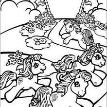 صفحة تلوين أحصنة بوني تعدو