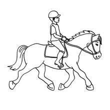صفحة تلوين طفل يدرّب حصانًا