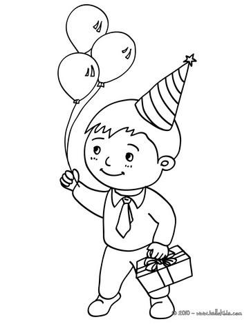 صفحة تلوين فتى مع هديّة عيد ميلاده