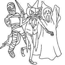 صفحة تلوين مجموعة وحوش هالويين المخيفة