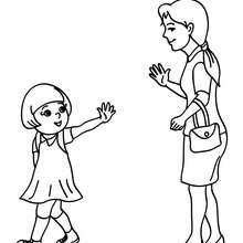 صفحة تلوين أمّ تتركها ابنتها في المدرسة