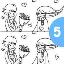 لعبة كشف 5 فوارق بين رسمي حبيبين عاشقين