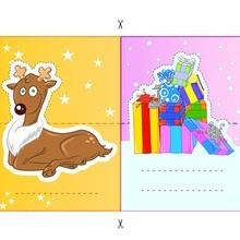 الرنة وهدايا عيد الميلاد يطفو على السطح بطاقات مكان